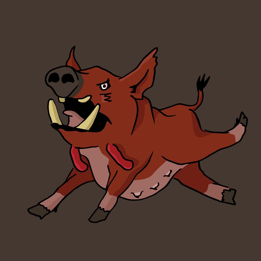 Red wattled hog