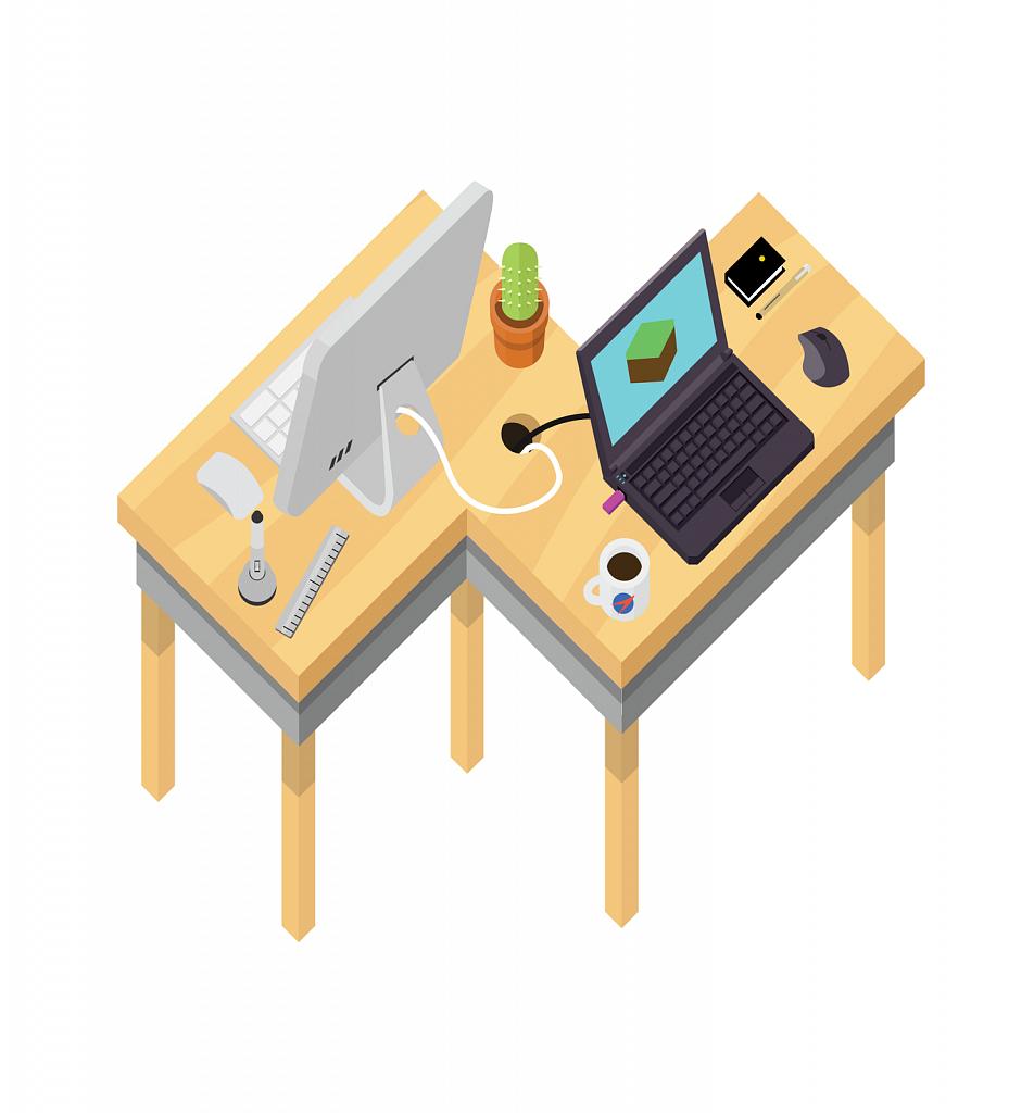 Computers at a desk